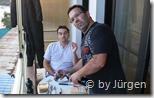 Michael und Volker beim Abendessen