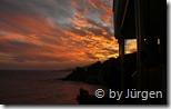 Der Sonnenuntergang von den Balkonen gesehen
