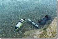Michaels Ausrüstung im Wasser